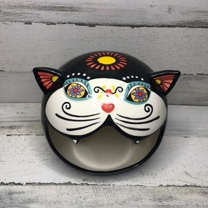 Day of the dead sugar skull cat candy dish NEW!